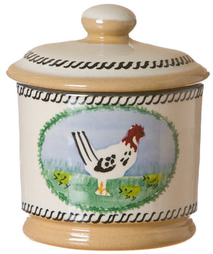Lidded sugar bowl Hen spongeware pottery by Nicholas Mosse Pottery - Ireland - Handmade Irish Craft.