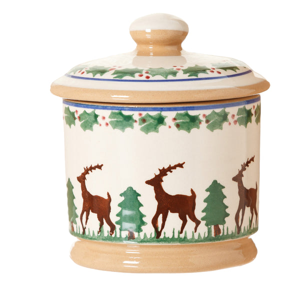 Lidded sugar bowl Reindeer spongeware pottery by Nicholas Mosse Pottery - Handmade Irish Craft