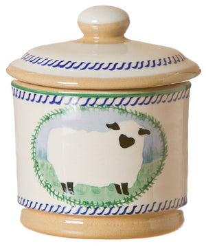 Lidded sugar bowl Sheep spongeware pottery by Nicholas Mosse Pottery - Ireland - Handmade Irish Craft.