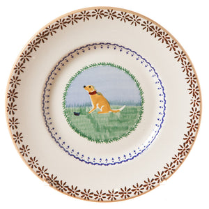 Lunch plate Dog spongeware pottery by Nicholas Mosse Pottery - Ireland - Handmade Irish Craft.