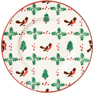 Lunch Plate Winter Robin Nicholas Mosse Pottery handcrafted sponge ware