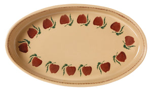 Medium Oval Oven Apple top view Nicholas Mosse Pottery handcrafted sponge ware Ireland