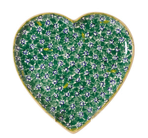 Medium Heart Plate Lawn Green Nicholas Mosse Pottery handcrafted spongeware Ireland