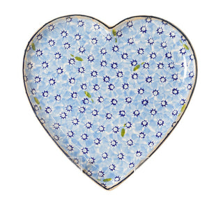 Medium Heart Plate Lawn Light Blue Nicholas Mosse Pottery handcrafted spongeware