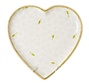 Medium Heart Plate Lawn White Nicholas Mosse Pottery handcrafted spongeware