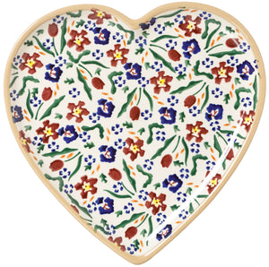 Medium Heart Plate Wild Flower Meadow Nicholas Mosse Pottery handcrafted spongeware Ireland