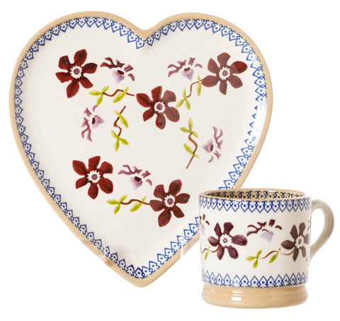 Medium Heart Plate and Small Mug Clematis by Nicholas Mosse Pottery - Ireland - Handmade Irish Craft