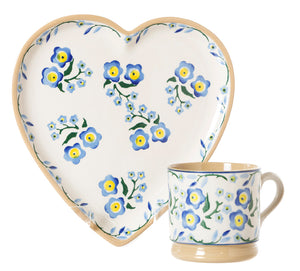 Medium Heart Plate and Small Mug Forget Me Not by Nicholas Mosse Pottery - Ireland - Handmade Irish Craft