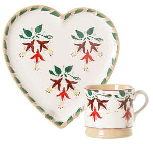 Medium Heart Plate and Small Mug Fuchsia by Nicholas Mosse Pottery - Ireland - Handmade Irish Craft