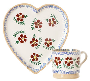 Medium Heart Plate and Small Mug Old Rose by Nicholas Mosse Pottery - Ireland - Handmade Irish Craft