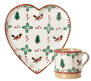 Medium Heart Plate and Small Mug Winter Robin spongeware pottery by Nicholas Mosse, Ireland - Handmade Irish Craft - nicholasmosse.com