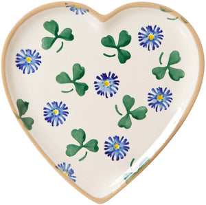 Medium Heart Plate Clover spongeware pottery by Nicholas Mosse, Ireland - Handmade Irish Craft - nicholasmosse.com
