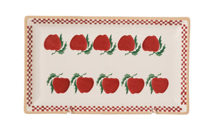 Medium Rectangle Plate Apple spongeware by Nicholas Mosse Pottery - Ireland - Handmade Irish Craft.