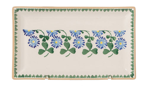 Medium Rectangle Plate Clover spongeware by Nicholas Mosse Pottery - Ireland - Handmade Irish Craft.