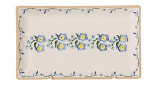 Medium Rectangle Plate Forget Me Not spongeware by Nicholas Mosse Pottery - Ireland - Handmade Irish Craft.