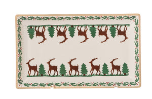 Medium Rectangle Plate Reindeer spongeware by Nicholas Mosse Pottery - Ireland - Handmade Irish Craft.