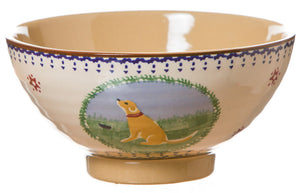 Medium bowl Dog spongeware pottery by Nicholas Mosse Pottery - Ireland - Handmade Irish Craft.