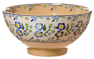 Medium bowl Forget Me Not spongeware pottery by Nicholas Mosse Pottery - Ireland - Handmade Irish Craft.
