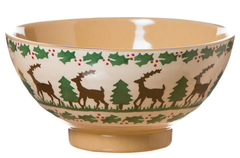 Medium bowl Reindeer spongeware pottery by Nicholas Mosse Pottery - Ireland - Handmade Irish Craft