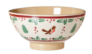Medium bowl Winter Robin spongeware pottery by Nicholas Mosse - Ireland - Handmade Irish Craft