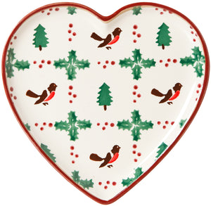 Medium Heart Plate Winter Robin Nicholas Mosse Pottery handcrafted sponge ware Ireland