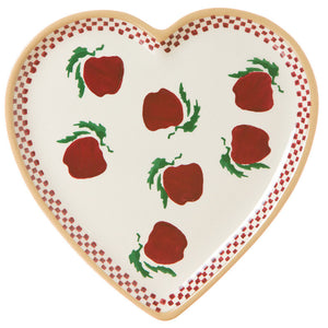 Medium heart shaped plate Apple spongeware pottery by Nicholas Mosse Pottery - Ireland - Handmade Irish Craft.