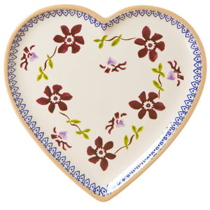 Medium heart shaped plate Clematis spongeware pottery by Nicholas Mosse Pottery - Ireland - Handmade Irish Craft.