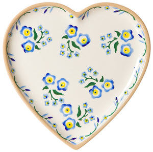 Medium heart shaped plate Forget Me Not spongeware pottery by Nicholas Mosse Pottery - Ireland - Handmade Irish Craft.