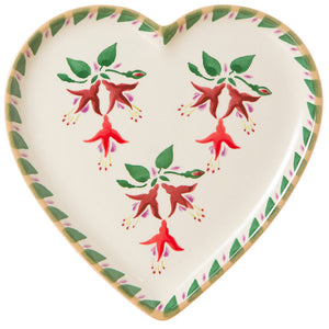 Medium heart shaped plate Fuchsia spongeware pottery by Nicholas Mosse Pottery - Ireland - Handmade Irish Craft.