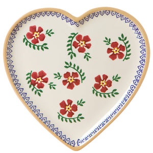 Medium heart shaped plate Old Rose spongeware pottery by Nicholas Mosse Pottery - Ireland - Handmade Irish Craft.
