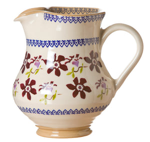 Medium jug Clematis spongeware pottery by Nicholas Mosse Pottery - Ireland - Handmade Irish Craft.