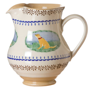 Medium jug Dog spongeware pottery by Nicholas Mosse Pottery - Ireland - Handmade Irish Craft.