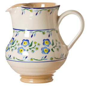 Medium jug Forget Me Not spongeware pottery by Nicholas Mosse Pottery - Ireland - Handmade Irish Craft.