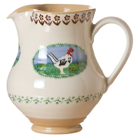 Medium jug Hen spongeware pottery by Nicholas Mosse Pottery - Ireland - Handmade Irish Craft.