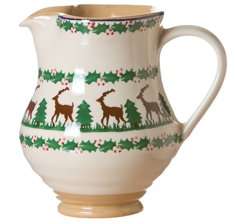 Medium jug Reindeer spongeware pottery by Nicholas Mosse Pottery - Ireland - Handmade Irish Craft.