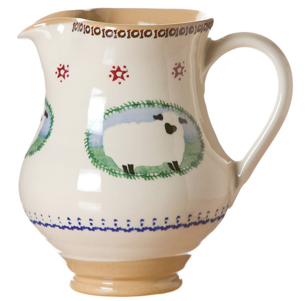 Medium jug Sheep spongeware pottery by Nicholas Mosse Pottery - Ireland - Handmade Irish Craft.