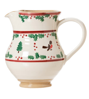 Medium jug Winter Robin spongeware pottery by Nicholas Mosse Pottery - Ireland - Handmade Irish Craft