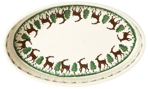 Medium oval dish ovenware Reindeer (inside) spongeware stoneware by Nicholas Mosse Pottery - Ireland - Handmade Irish Craft.