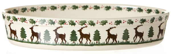 Medium oval dish ovenware Reindeer spongeware stoneware by Nicholas Mosse Pottery - Ireland - Handmade Irish Craft.