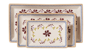 Nest of Rectangular Plates Clematis spongeware by Nicholas Mosse Pottery - Ireland - Handmade Irish Craft.