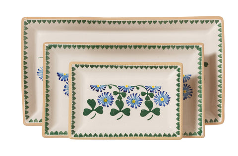 Nest of Rectangular Plates Clover spongeware by Nicholas Mosse Pottery - Ireland - Handmade Irish Craft.