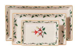 Nest of Rectangular Plates Fuchsia spongeware by Nicholas Mosse Pottery - Ireland - Handmade Irish Craft.