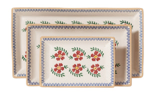 Nest of Rectangular Plates Old Rose spongeware by Nicholas Mosse Pottery - Ireland - Handmade Irish Craft.