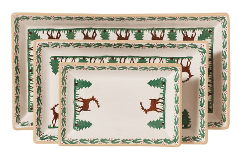 Nest of Rectangular Plates Reindeer spongeware by Nicholas Mosse Pottery - Ireland - Handmade Irish Craft.