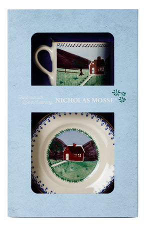 Box Set Small Mug and Tiny Plate Farmhouse spongeware pottery by Nicholas Mosse, Ireland - Handmade Irish Craft - nicholasmosse.com