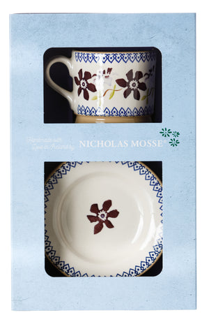 Box Set Small Mug and Tiny Plate Clematis