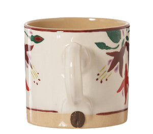 Espresso Cup Fuchsia handle with coffee bean Nicholas Mosse Pottery handcrafted sponge ware Ireland