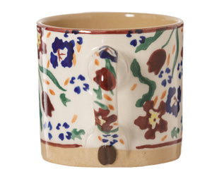 Espresso Cup Wild Flower Meadow handle with coffee bean Nicholas Mosse Pottery handcrafted spongeware Ireland