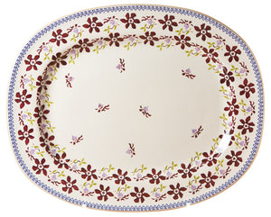 Oval platter Clematis spongeware pottery by Nicholas Mosse Pottery - Ireland - Handmade Irish Craft.