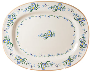 Oval platter Forget Me Not spongeware pottery by Nicholas Mosse Pottery - Ireland - Handmade Irish Craft.